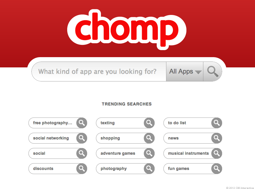 Chomp's Web site, back when it was alive and well.