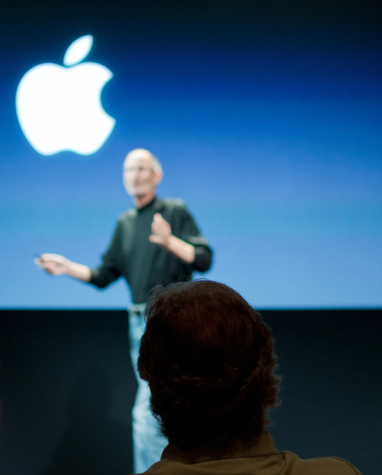 Steve Jobs at the company's iPhone 4 antenna press conference last year.