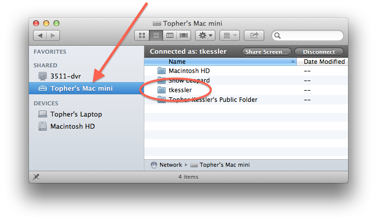 Network shares in the Finder sidebar