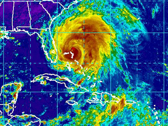 An infrared satellite image from the National Weather Service shows Hurricane Irene off the coast of Florida Aug. 25, 2011.