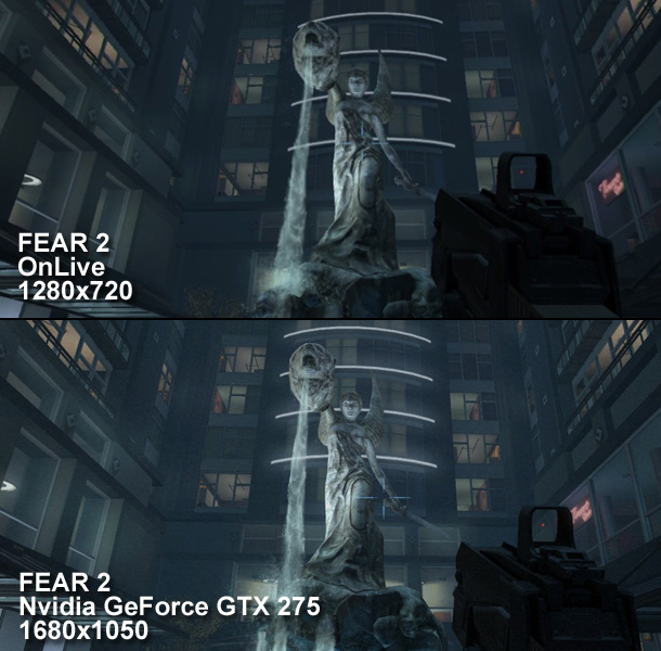 FEAR 2 played via OnLive, compared to the same game played on a high-end gaming PC. Note the level of detail on the statue, as well as the lighting bloom missing from the OnLive version.