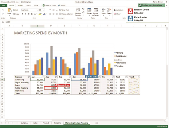 Microsoft's Excel Web App now lets multiple people work on the same document simultaneously.