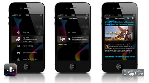Sony's Official PlayStation App running on the iPhone 4.