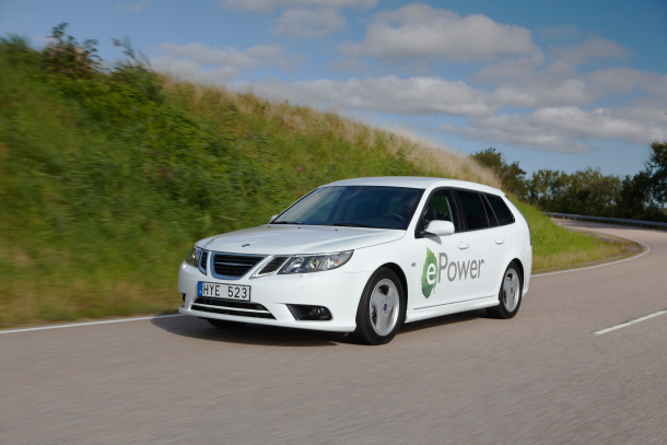 The Saab 9-3 ePower, a prototype electric test vehicle.
