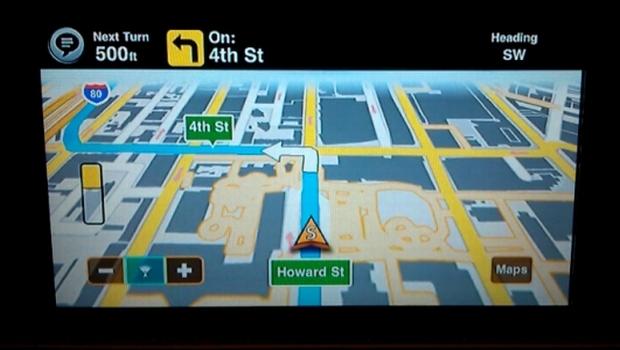 After beginning a route on the smartphone, Motion-X GPS Drive can then use AppRadio's display to present interactive maps with turn-by-turn directions.
