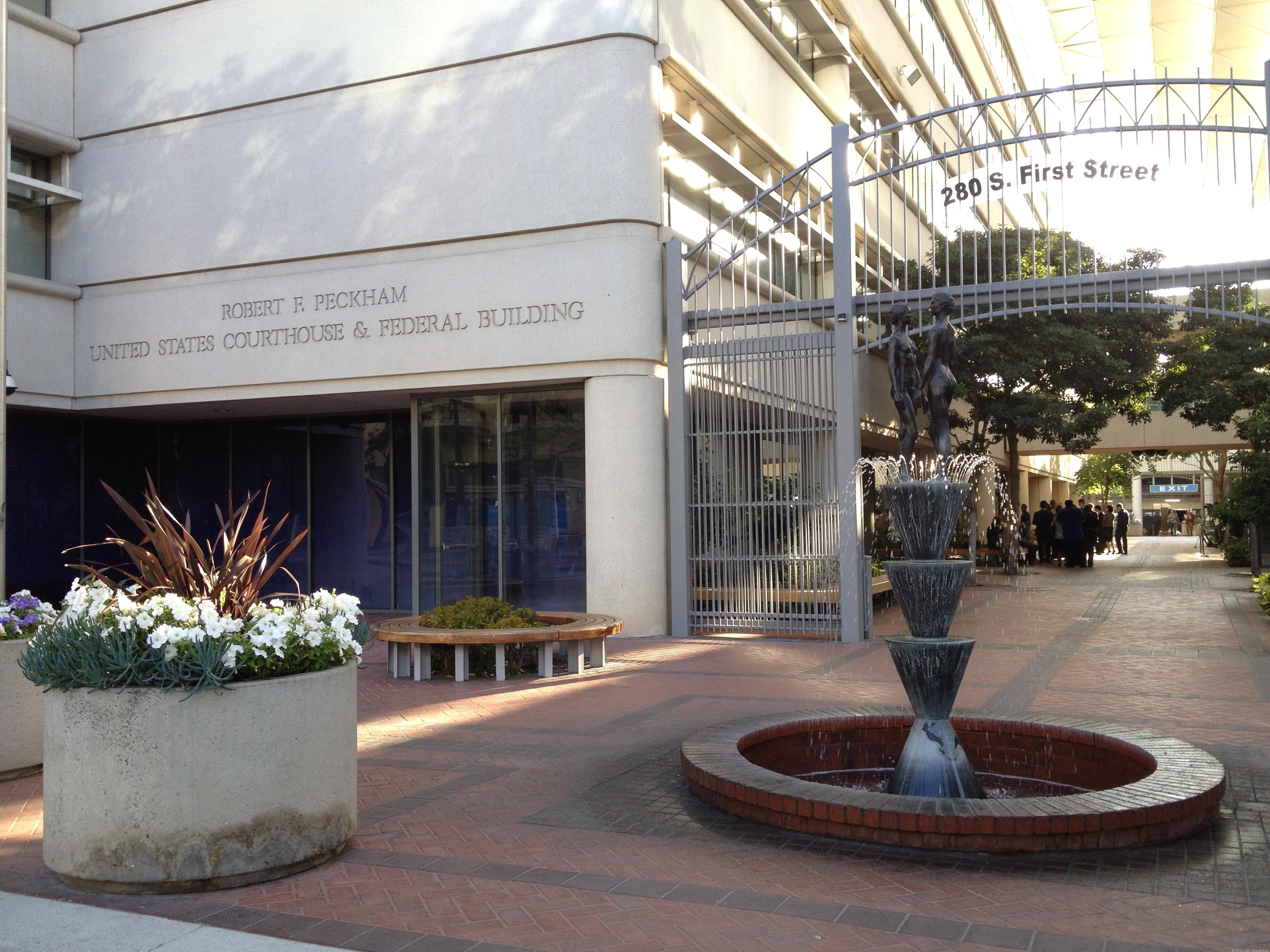 Outside U.S District Court in San Jose, Calif., the scene of the Apple v. Samsung trial.