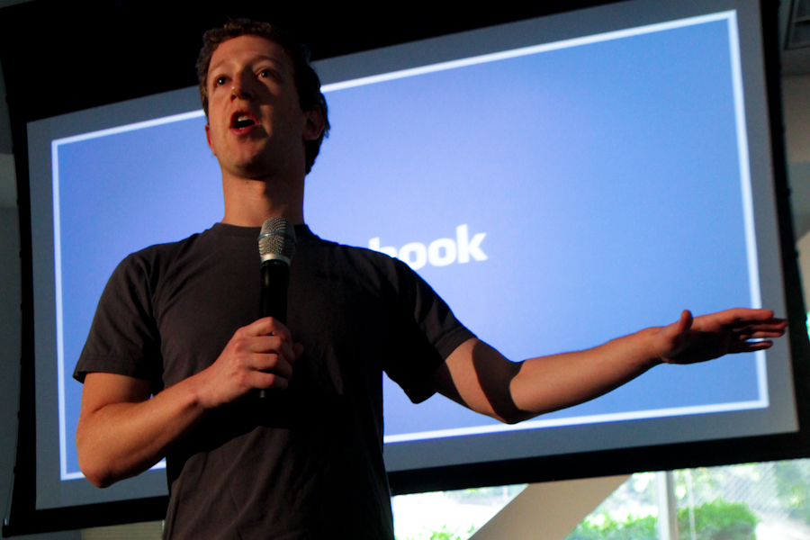 Mark Zuckerberg introduces the team who developed new integrated server and data centers in Palo Alto today.