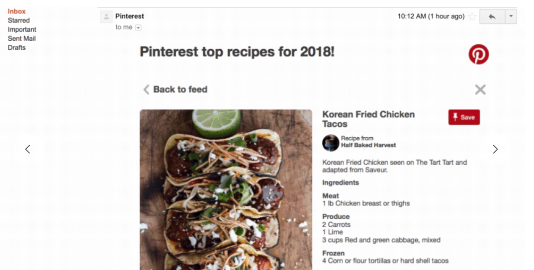 Pinterest is one early partner Google is working with on AMP for Gmail.