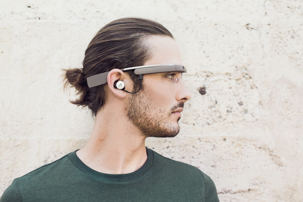 The mono earbud in Google Glass.