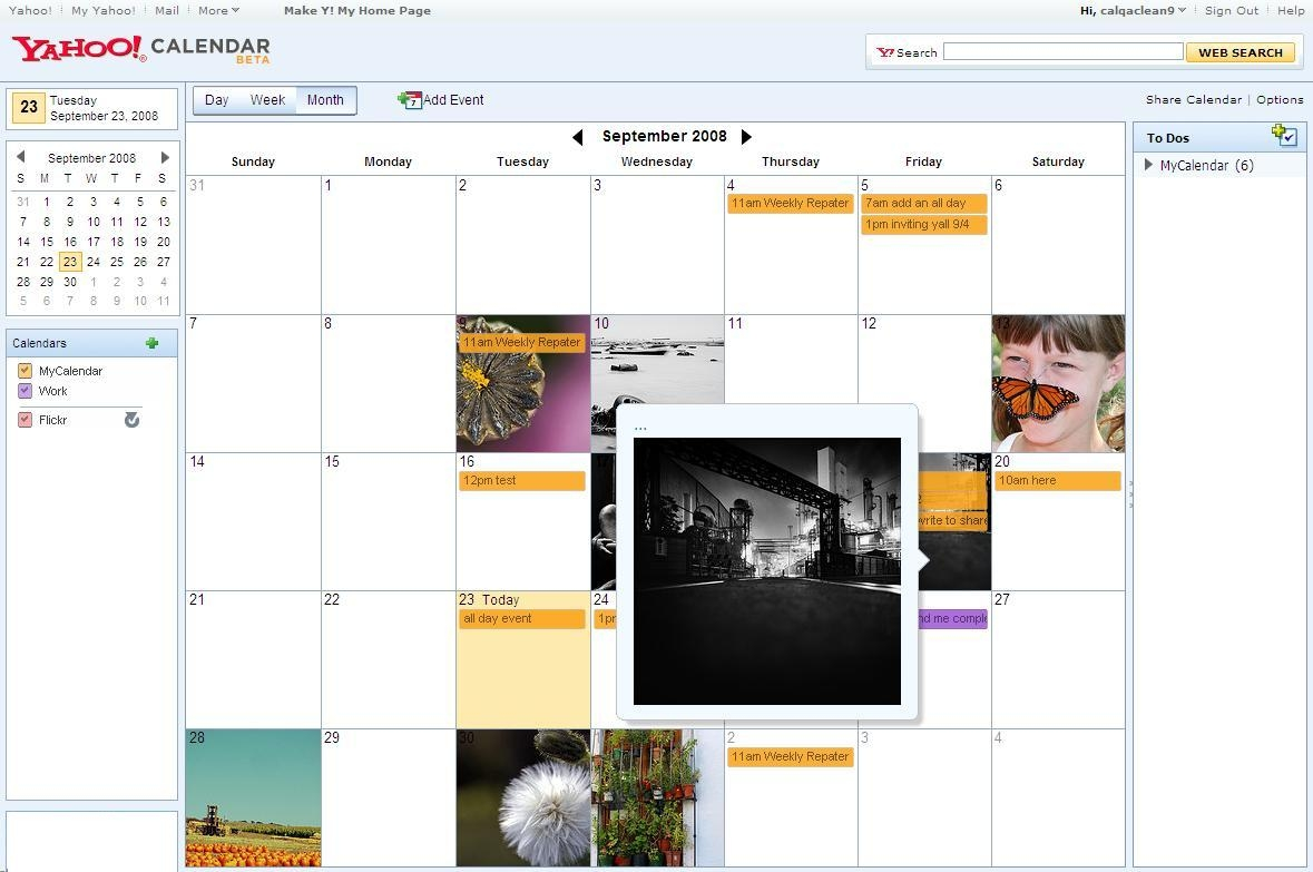 The new Yahoo Calendar can show Flickr images as a background, though not yet a users' own shots. (Click to enlarge.)
