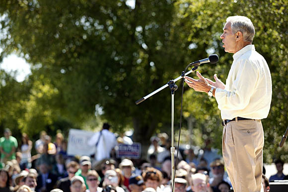 """GOP presidential candidate Rep. Ron Paul, shown here in a previous visit to Silicon Valley, says CISPA is """"Big Brother writ large."""""""