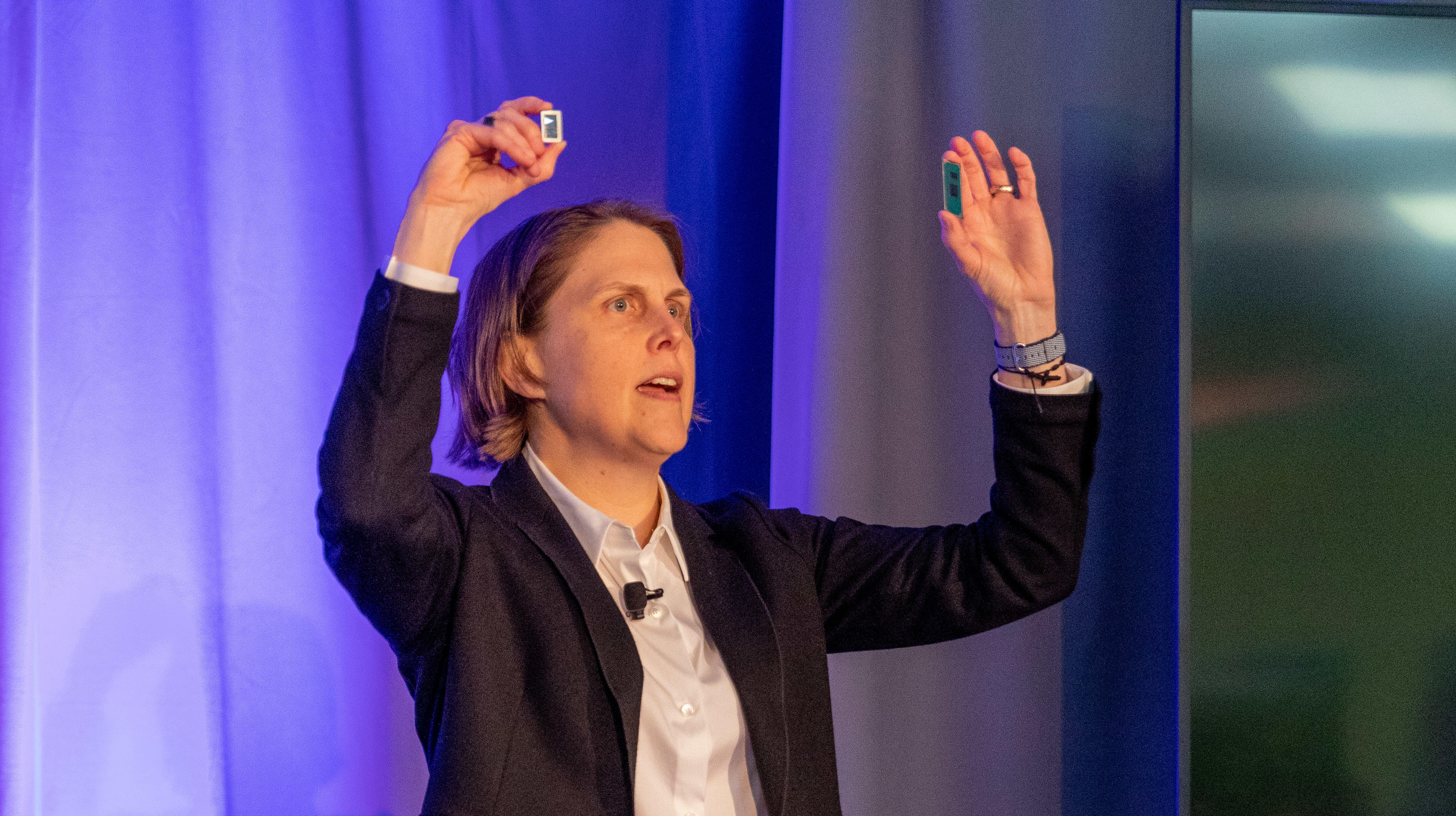 Becky Loop, Intel's chief client architect, shows two 10nm Ice Lake processors for laptops.