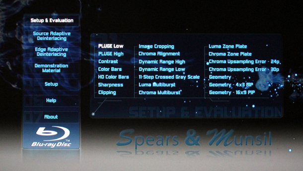 Spears and Munsil High-Definition Benchmark Main Menu