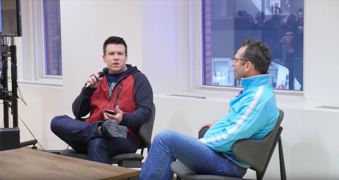 Phil DeFranco and YouNow CEO Adi Sideman sit facing each other