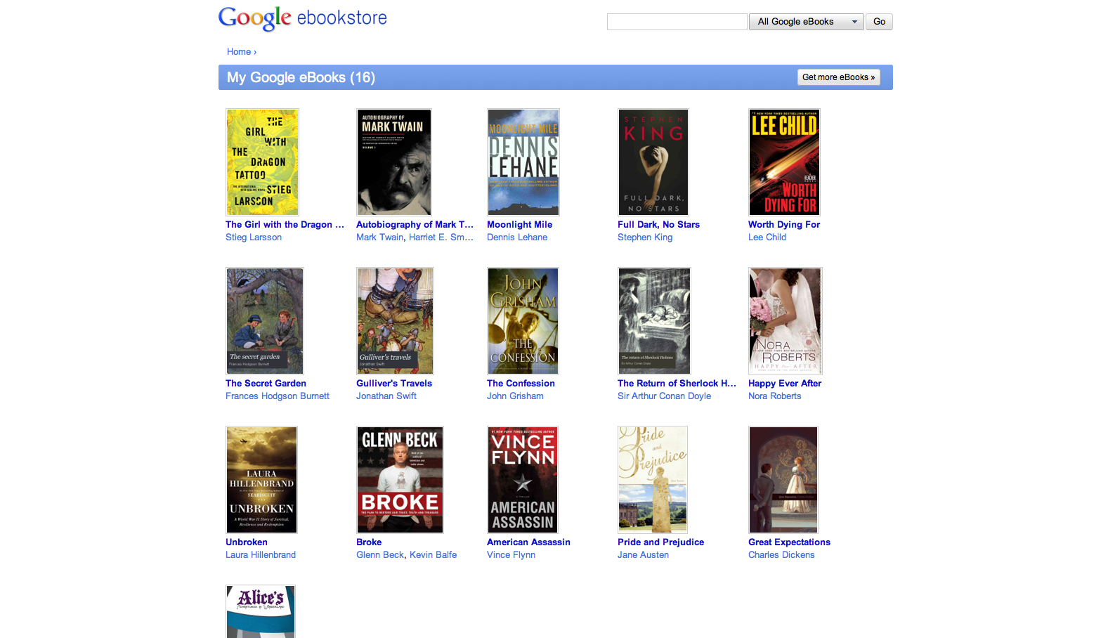 A look at the dashboard for Google eBooks.