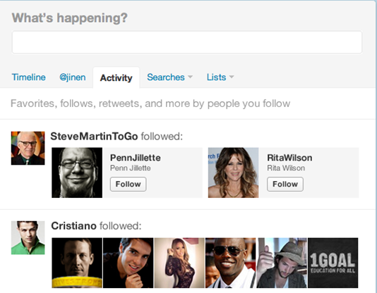 Twitter's upcoming new Activity feature.