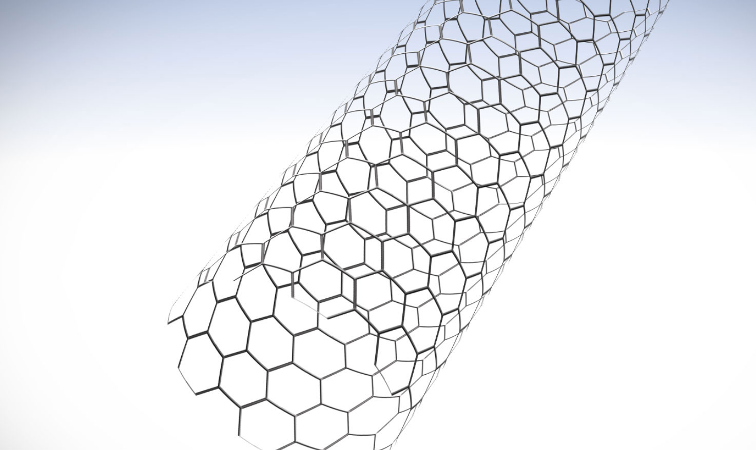 A carbon nanotube (CNT) is a lattice of carbon atoms rolled into a cylindrical shape. Each one is about 10 billionths of a meter wide -- about 10,000 times thinner than a human hair.