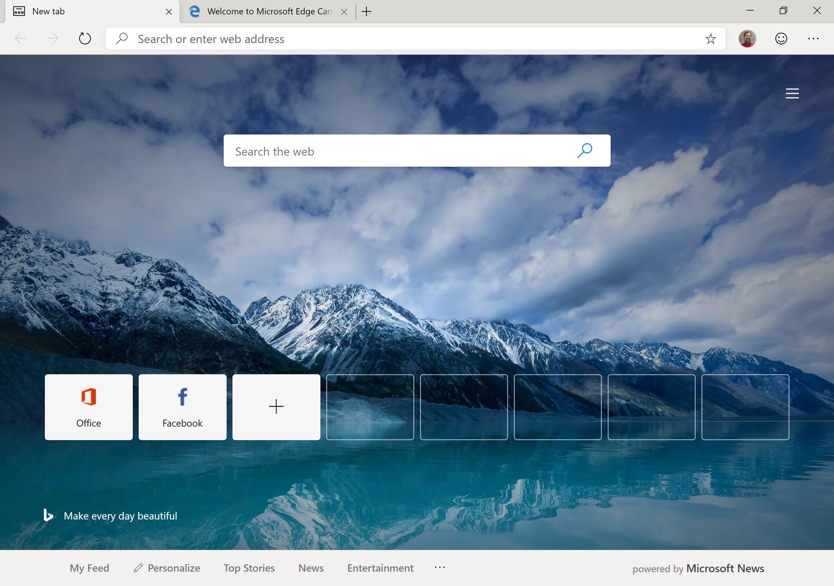 Chromium-based Microsoft Edge offers to show new tabs with a scenic background, though barer-bones options are available. If you don't import earlier browsing data, it comes with tabs for Microsoft Office and Facebook.