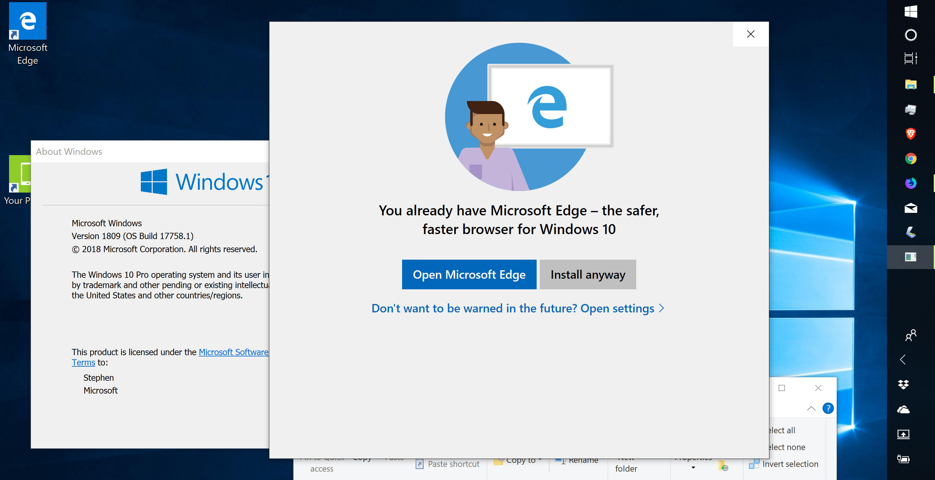 A Windows 10 test version tries to steer people away from other web browsers and toward Microsoft's own Edge.