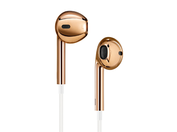 Solid rose-gold Apple earbuds