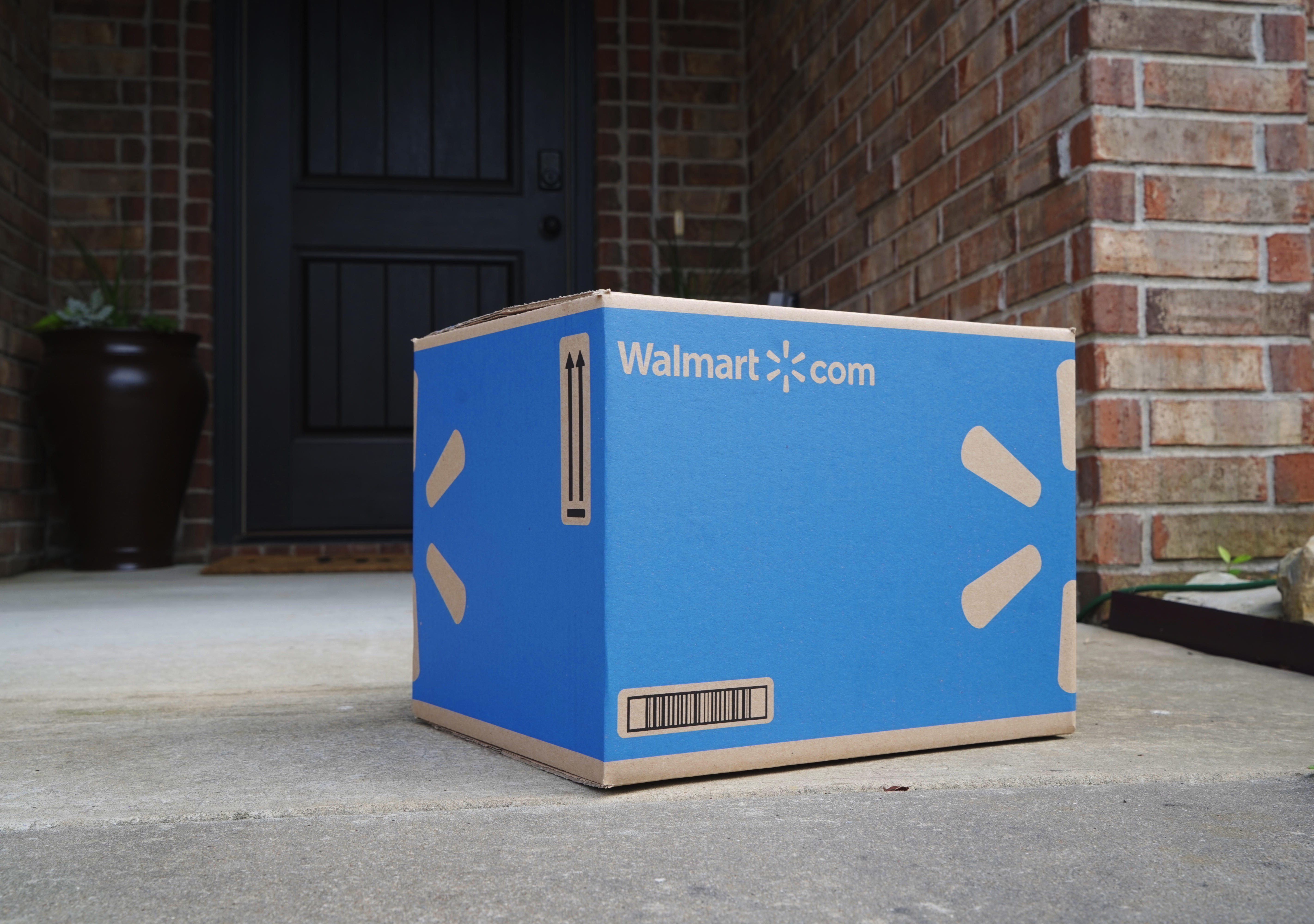 Walmart NextDay delivery box on a doorstep