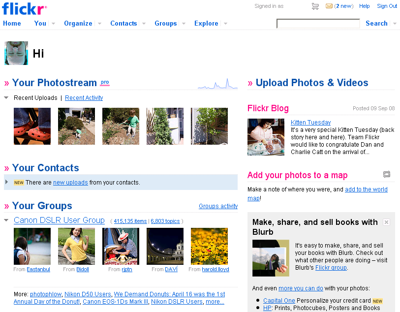 Yahoo's redesigned Flickr page