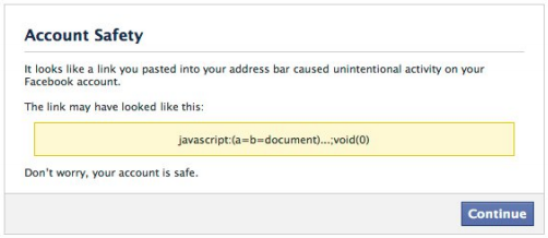 This is the type of warning you will see if Facebook detects a type of malware attack that requires user action.