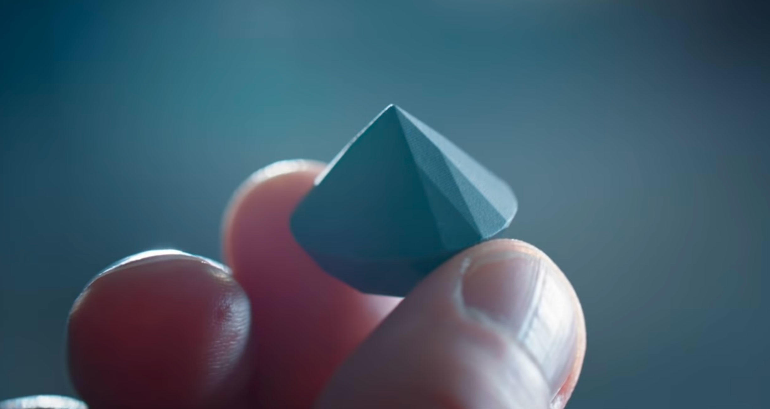 Sandvik showed off this 3D printed diamond shape, but it's made from diamond powder in a polymer composite, not pure crystalline diamond.