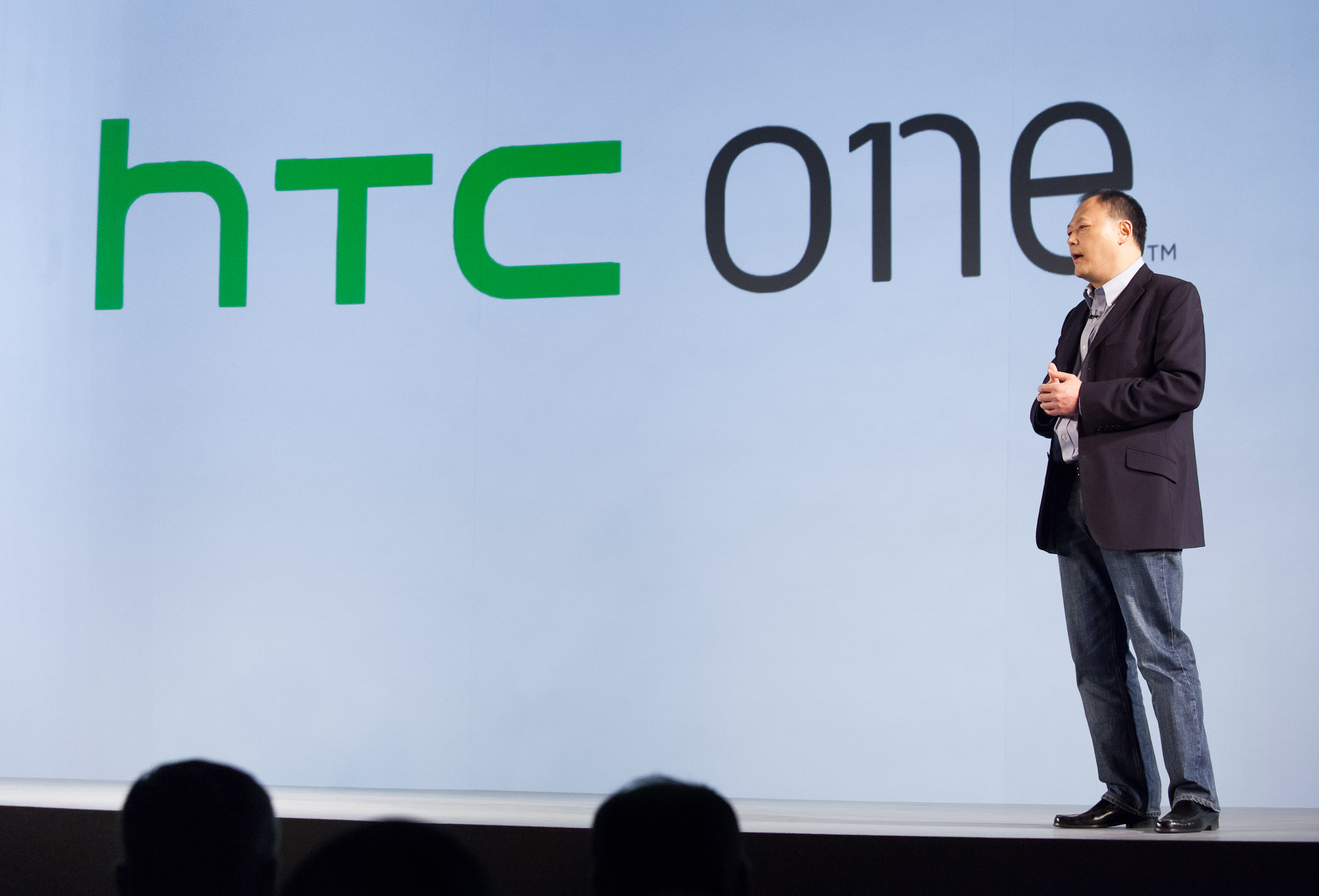 HTC Chief Executive Peter Chou unveils the new HTC One brand name. There are three models--the x, s, and v.