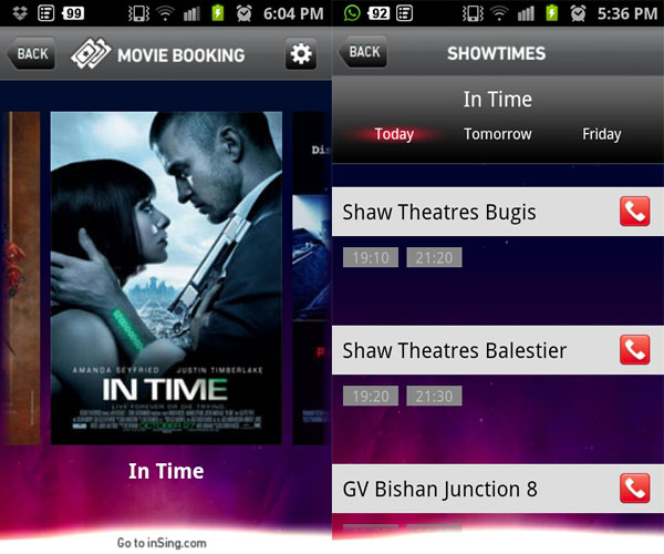 Clicking on a movie time will bring you to the theater's Web site to make a booking.