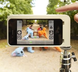 The Canopy Kapok (shown here in white, but currently available only in black) adds a tripod-mount case and shutter-release buttons to your iPhone 4.
