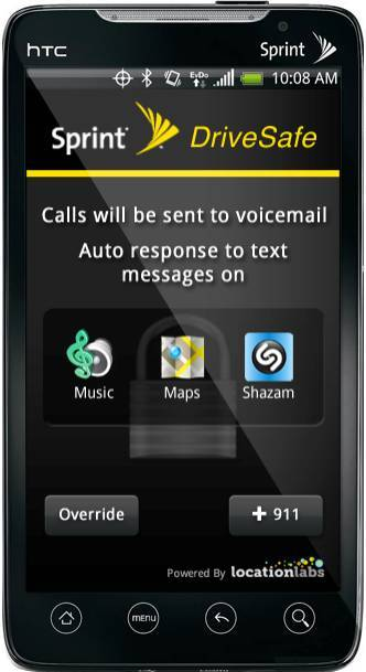 Sprint's Drive First anti-distracted driving app blocks most phone features.