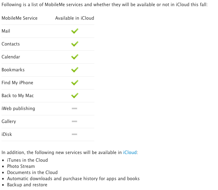 Three services are not making the cut as part of the move from MobileMe to iCloud.