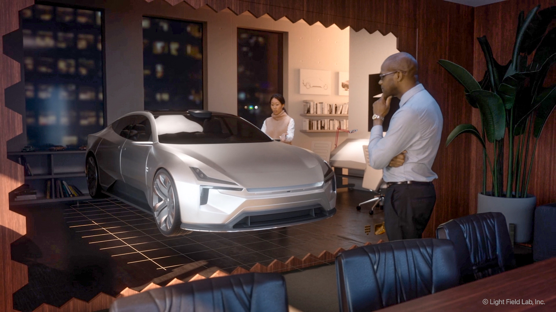 Future vision art of SolidLight Display showing a sports car