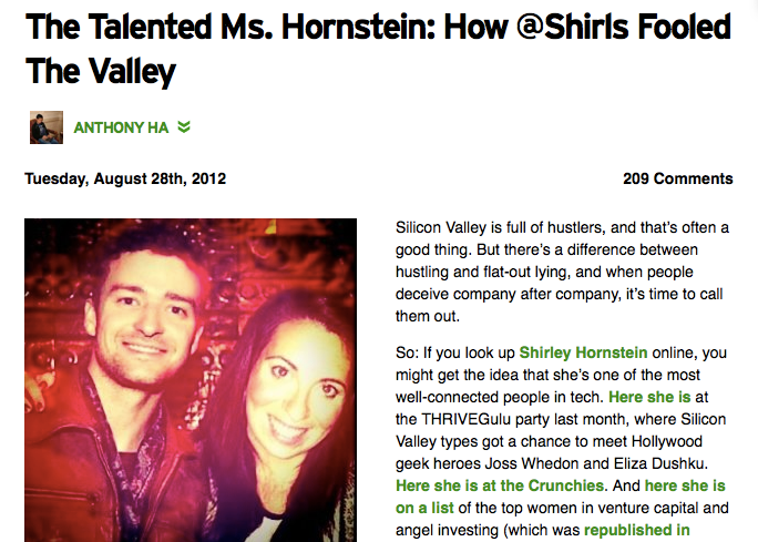 How TechCrunch initially exposed her.