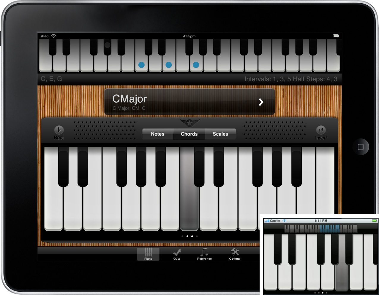 Image of the Nota piano training application for the Apple iPad.