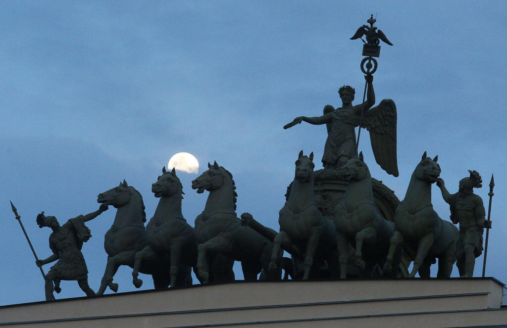 A darkened monument in St. Petersburg, Russia, during Earth Hour 2021.