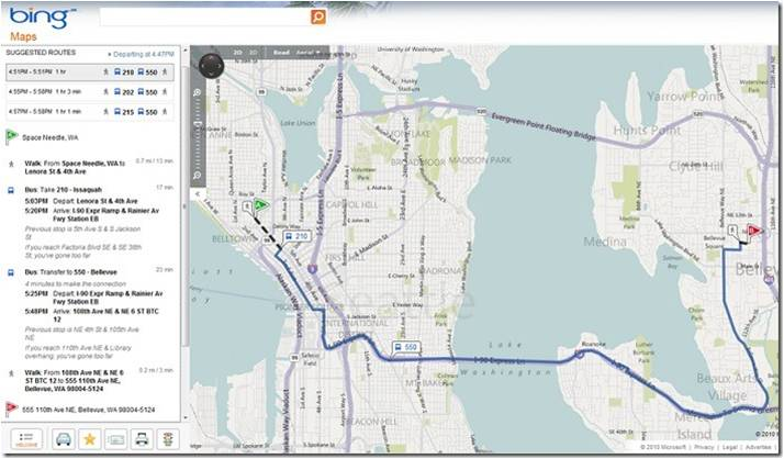 Bing Maps now can supply directions including public transportation, not just walking and driving.