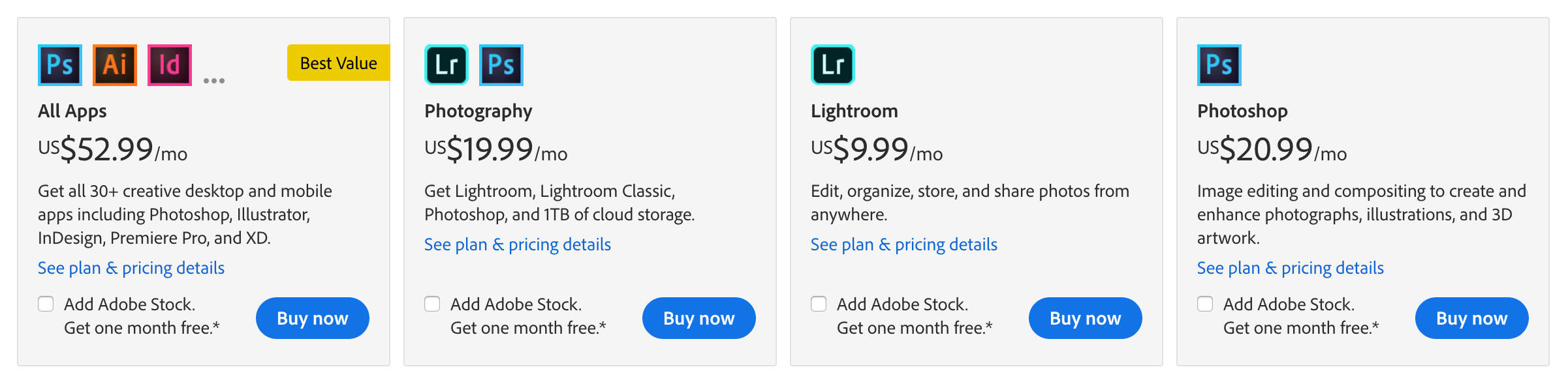 Adobe tested the removal of a $10 monthly plan from its website. It left in place alternatives with different combinations of cloud storage space and photography software.