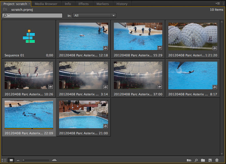 Premiere Pro CS6 gets an overhauled project panel that shows variable-size thumbnails. Each thumbnail can be scrubbed with a mouse swipe, with video editors setting in points and out points for when a clip should begin and end.