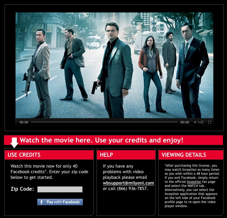 """""""Inception"""" is now available on Facebook--for 40 credits."""