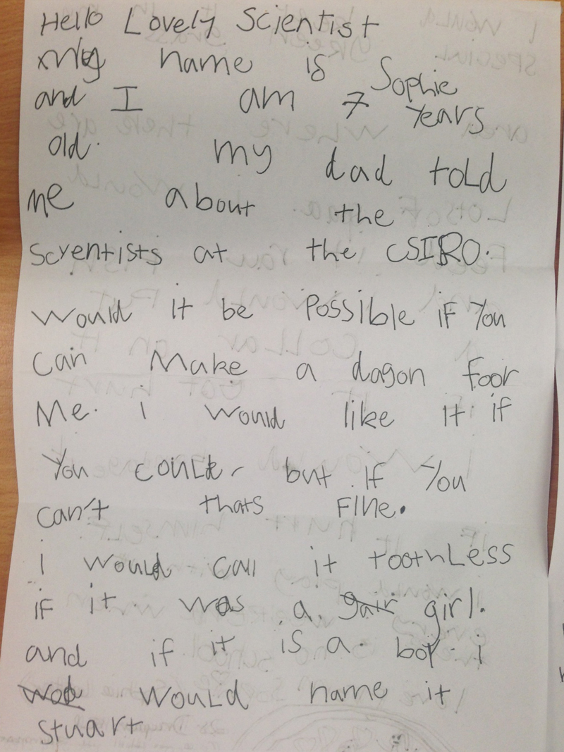 Little did Sophie Lester know that her letter to CSIRO asking for a dragon would charm the scientists into creating her own winged-pet named Toothless.