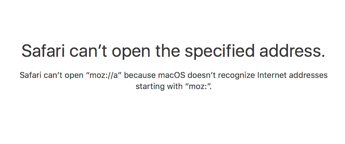"Apple's Safari browser interprets the ""moz://a"" name as an internet standard it doesn't understand.​"