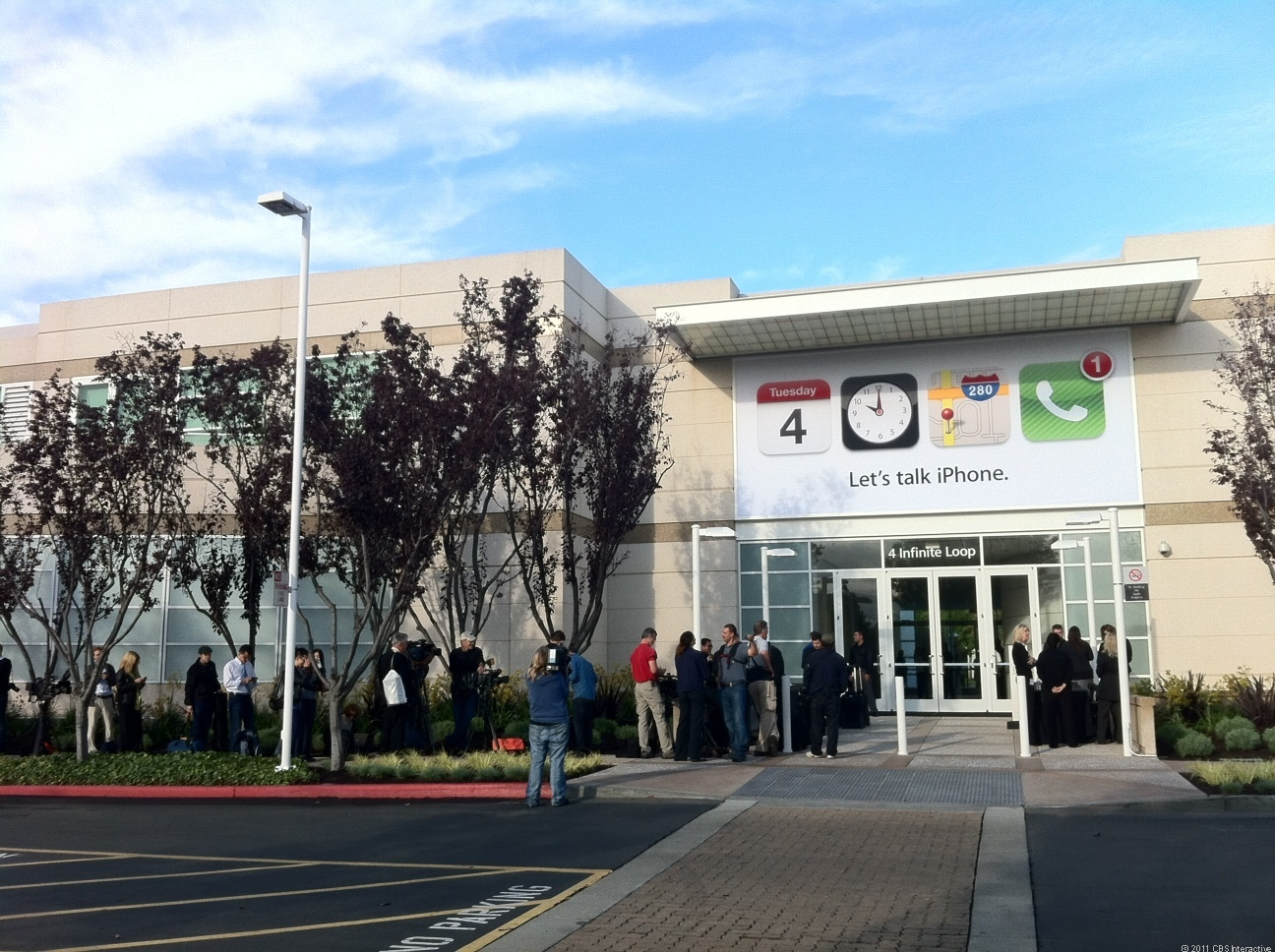 The scene Tuesday morning outside Apple headquarters in Cupertino, Calif., about an hour before the event got started.