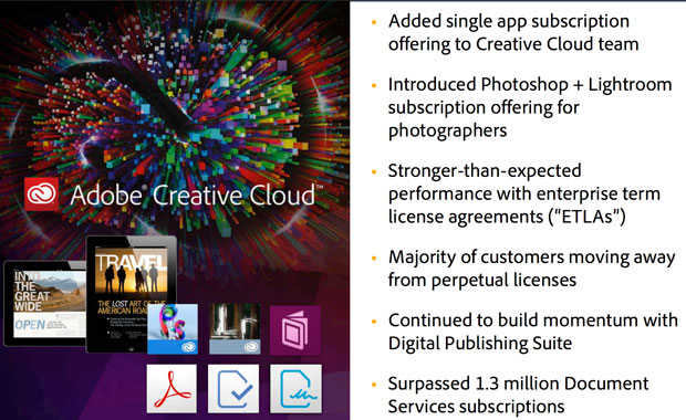 Adobe touted Creative Cloud progress while reporting results for its fiscal third quarter of 2013.