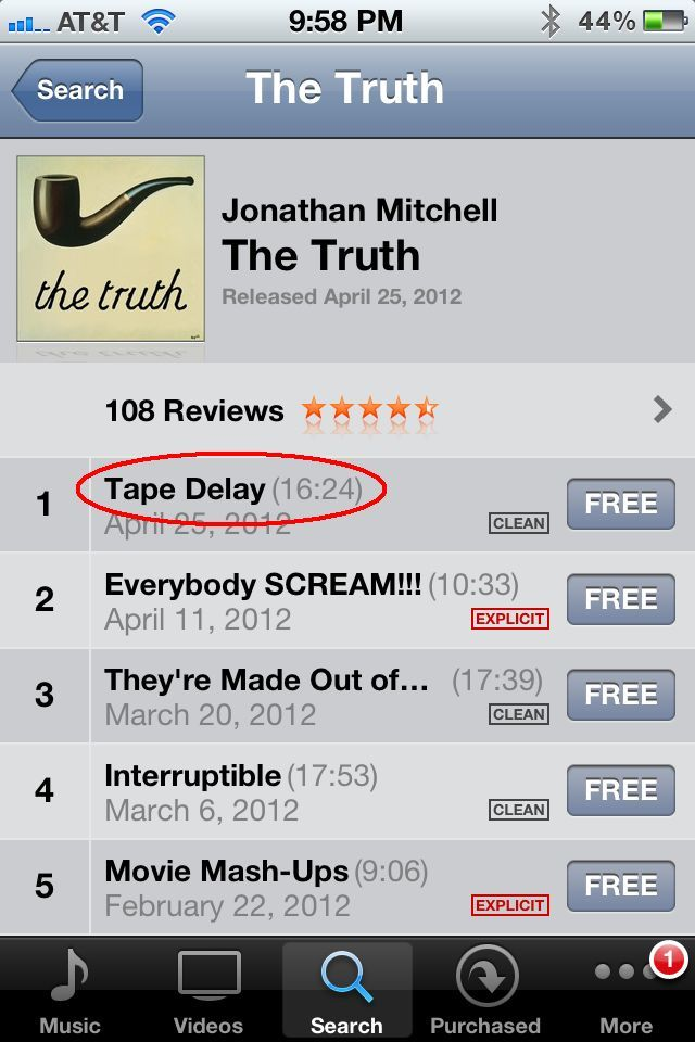 To stream any podcast via iTunes, just tap the title.