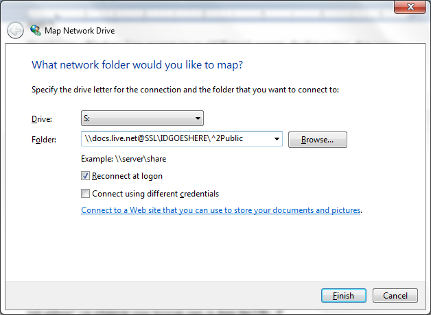 Step 4: Start mapping network drive.