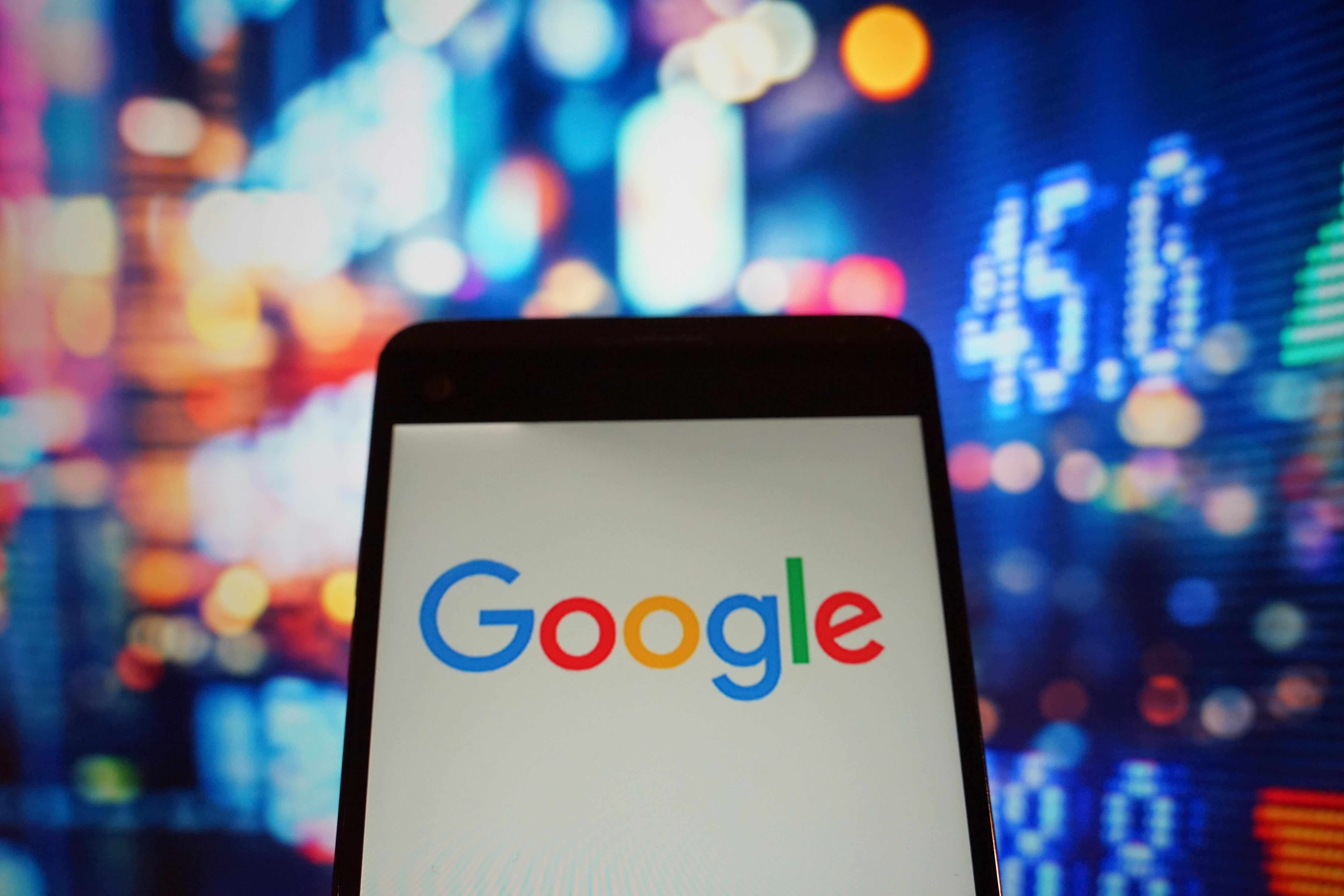 The logo of google is seen in a smartphone