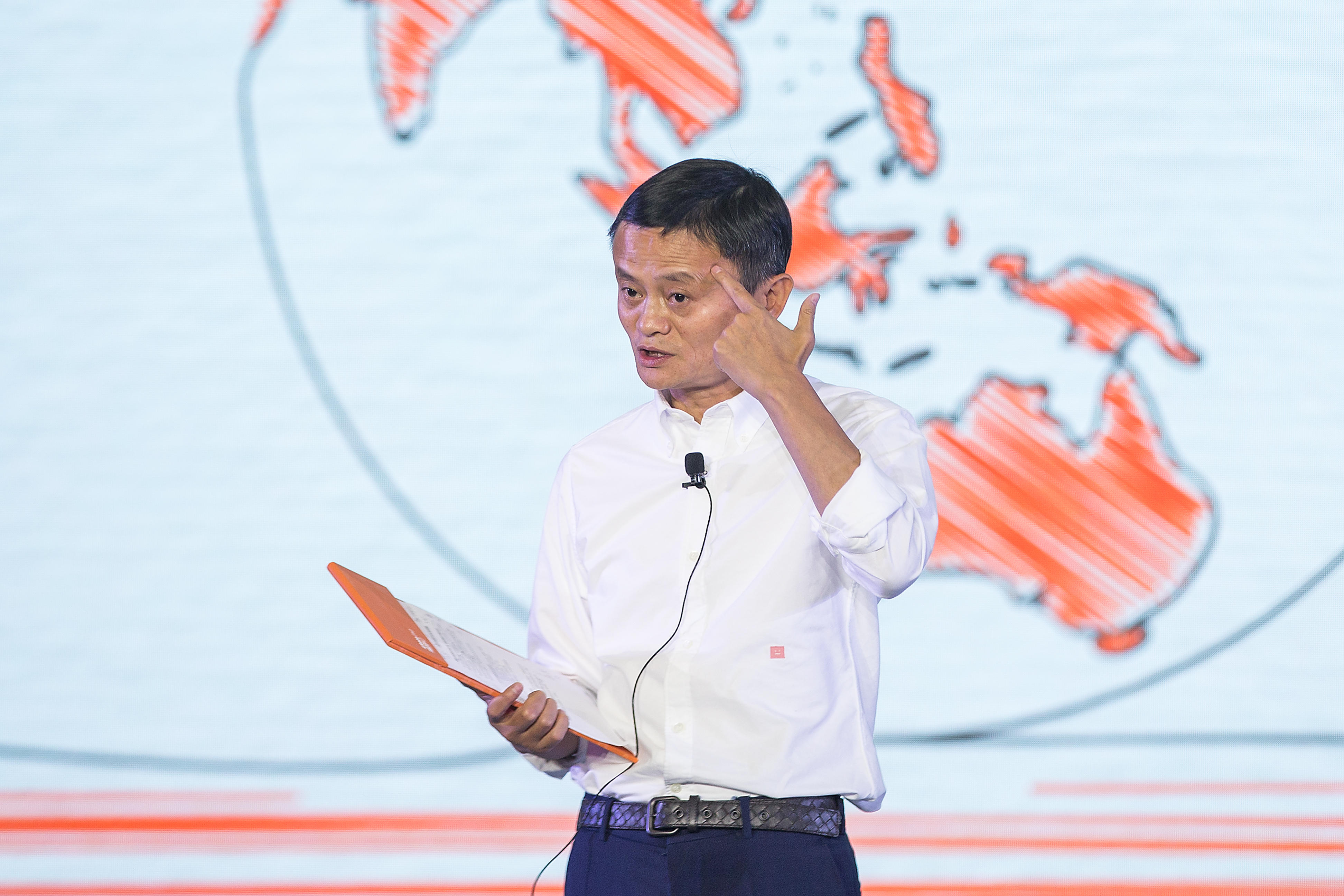 Alibaba Group Chairman Jack Ma makes a speech at the Alibaba Xin Philanthropy Conference on Sept. 5, 2018.
