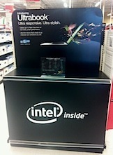 An Intel display promoting ultrabooks at Office Depot.